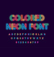 colored neon font colorful outlines letter and vector image vector image