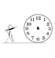conceptual cartoon of businessman and time vector image