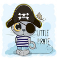 cute cartoon kitten in a pirate hat vector image