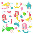 cute mermaid icon set isolated vector image
