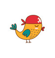cute pirate bird isolated element funny crocodile vector image