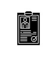 cv resume black icon sign on isolated vector image vector image