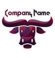 deep purple bull head logo design on white vector image