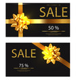 discount voucher realistic golden glitter vector image