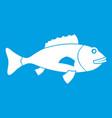 fish icon white vector image vector image