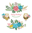 floral design elements and cute owls vector image vector image