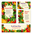 fruit and fresh berry banner template set design vector image vector image