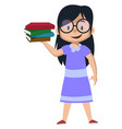 girl holding books on white background vector image vector image