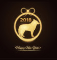 gold dog and new year tree decoration vector image vector image