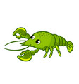 green crayfish on white background vector image