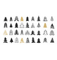 hand drawn christmas tree icons doodles vector image