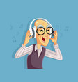 happy senior man listening to music on headphones vector image vector image