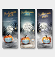 holiday halloween banners with pumpkins wearing vector image vector image