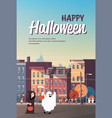 kids wearing monsters ghost grim reaper costumes vector image