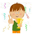 little boy holding gold cup trophy vector image
