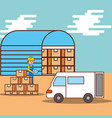 man logistic warehouse boxes and van truck vector image vector image