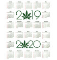 marijuana calendar for 2019 and 2020 year vector image