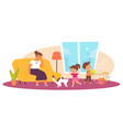 naughty children in living room tired mother vector image