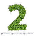 number symbol of green leaves vector image vector image