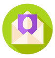 Open Envelope with Easter Egg Postcard Circle Icon vector image vector image