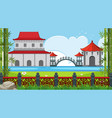 park scene with chinese buildings by the lake vector image vector image