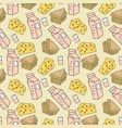 pattern seamless kids with junk food doodle vector image vector image