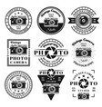photography and photo studio set emblems vector image vector image