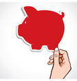 red piggy bank icon in hand vector image vector image