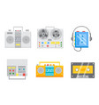 retro tape recorders icon set vector image vector image