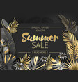 sale summer sale tropical leaves frame on striped vector image vector image