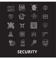 security editable line icons set on black vector image vector image
