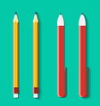 Set of pencils and handles in flat style vector image vector image