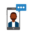 smartphone with man and speech bubble vector image