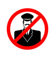 stop doorman red prohibition sign ban tip vector image