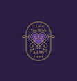valentines day abstract curly heart label vector image vector image