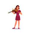 woman playing on violin with bow musician player vector image