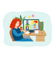 young woman having videoconference vector image