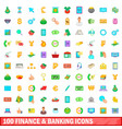 100 finance and banking icons set cartoon style vector image vector image