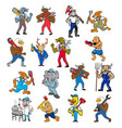 animal worker tradesman mascot set vector image