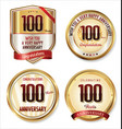 anniversary golden labels collection 100 years vector image vector image