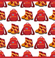 backpack and boots seamless pattern vector image vector image