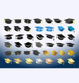 big set various academic hats vector image