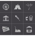 black carnival icons set vector image vector image