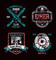car repair and biker club emblems vector image vector image