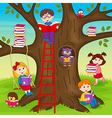 children are reading books on tree vector image