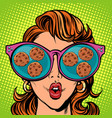 chocolate chip cookies woman reflection in vector image vector image