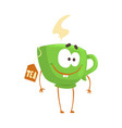 cute cartoon green cup of tea with smiley face vector image vector image
