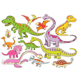 cute dinosaurs cartoon character vector image vector image