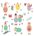 Cute funny sheeps collection vector image