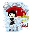cute spring girl with umbrella vector image